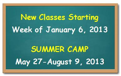 New Classes Starting June 2012